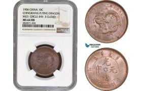 AB859, China, Chingkiang, 10 Cash 1906, Flying Dragon, Med. Circle-Inv. 3 Cloud, NGC MS64RB