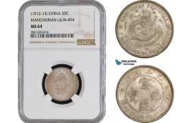 AB860, China, Manchurian, 20 Cents ND (1912-13) Silver, L&M 494, NGC MS64