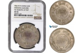 AB861, China, Sinkiang, Sar Yr 6 (1917) L&M 838 No rosette at top, Tihwa, Silver, NGC XF45