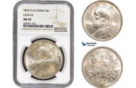 "AB862, China, ""Fat man"" Dollar Yr. 3 (1914) Silver, L&M 63, NGC MS62"
