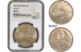 "AB863, China, ""Fat man"" Dollar Yr. 9 (1920) Silver, L&M 77, NGC MS63"