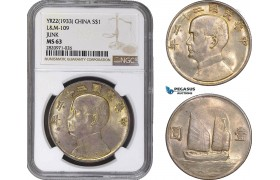 "AB864, China ""Junk"" Dollar Yr. 22 (1933) Silver, L&M 109, NGC MS63"
