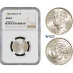 AB865, Cyprus, George VI, 9 Piastres 1938, London, Silver, NGC MS63