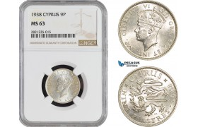 AB865, Cyprus, George VI, 9 Piastres 1938, London, Silver, NGC MS63