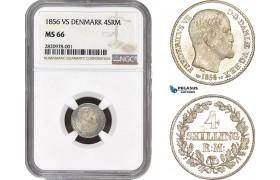 AB866, Denmark, Frederik VII, 4 Skilling 1856, Silver, NGC MS66, Pop 1/0