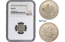 AB867, Ottoman Empire, Egypt, Abdulaziz, 1 Qirsh AH1277/4, Misr, Silver, NGC AU55