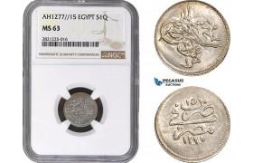 AB868, Ottoman Empire, Egypt, Abdulaziz, 1 Qirsh AH1277/15, Misr, Silver, NGC MS63