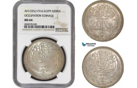 AB870, Egypt, Occupation Coinage, 20 Piastres AH1335 /1916, Silver, NGC MS64