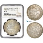 AB871, Egypt, Occupation Coinage, 20 Piastres AH1335 /1917, Silver, NGC MS62