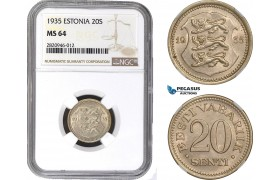 AB872, Estonia, 20 Senti 1935, NGC MS64