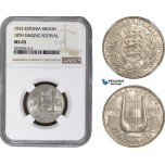 AB873, Estonia, 1 Kroon 1933, Silver, NGC MS65