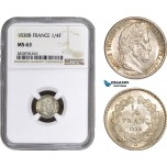 AB876, France, Louis Philippe I, 1/4 Franc 1838-B, Rouen, Silver, NGC MS63, Pop 1/0