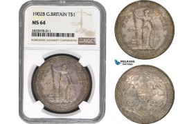 AB877, Great Britain, Trade Dollar 1902-B, Bombay, Silver, NGC MS64