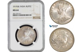 AB883, India, George V, 1 Rupee 1919 (B) Bombay, Silver, NGC MS64