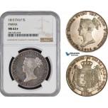 AB884, Italy, Parma, Maria Luigia, 5 Lire 1815, Silver, NGC MS62★ Prooflike! Rare!