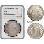AB885, Mexico, Charles IV, 8 Reales 1793 Mo FM, Mexico City, Silver, NGC MS61
