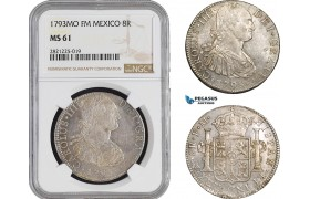 AB885, Mexico, Charles IV, 8 Reales 1793 Mo FM, Mexico City, Silver, NGC MS61