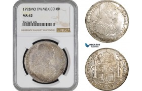 AB886, Mexico, Charles IV, 8 Reales 1793 Mo FM, Mexico City, Silver, NGC MS62