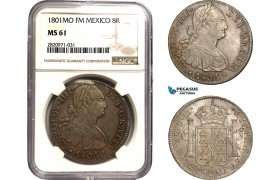 AB887, Mexico, Charles IV, 8 Reales 1801 Mo FM, Mexico City, Silver, NGC MS61, Pop 1/2, Rare!