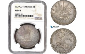 AB888, Mexico, 8 Reales 1839 Go PJ, Guanajuato, Silver, NGC MS64, Pop 4/0