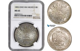 AB889, Mexico, 8 Reales 1883/2 Mo MH, Mexico City, Silver, NGC MS65, Pop 1/0