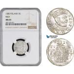 AB890, Latvia, Riga, Stefan Bathory of Poland, 3 Groschen (Trojak) 1585, Silver, NGC MS63