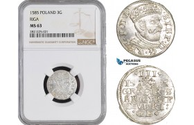 AB890, Latvia, Riga, Stefan Bathory of Poland, 3 Groschen (Trojak) 1585, Silver, NGC MS63