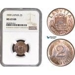 AB891, Latvia, 2 Santimi 1939, NGC MS65RB, Pop 7/1