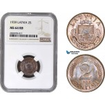AB892, Latvia, 2 Santimi 1939, NGC MS64RB