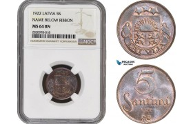 AB893, Latvia, 5 Santimi 1922, NGC MS64BN