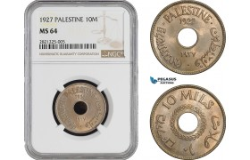AB895, Palestine, 10 Mils 1927, London, NGC MS64