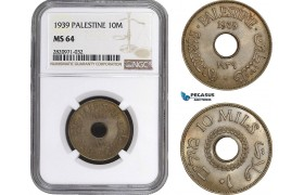 AB896, Palestine, 10 Mils 1939, London, NGC MS64