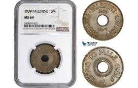 AB896, Palestine, 10 Mils 1939, London, NGC MS64