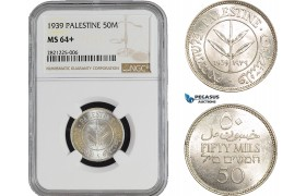AB897, Palestine, 50 Mils 1939, London, Silver, NGC MS64+