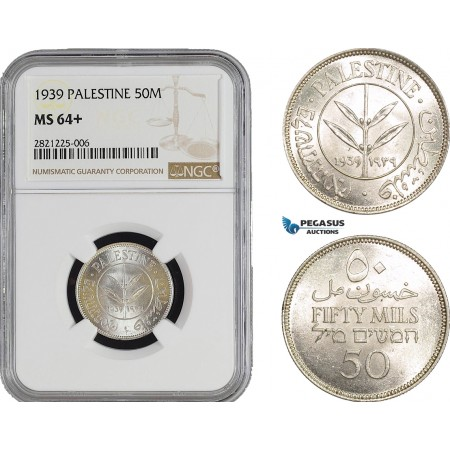 AB897, Palestine, 50 Mils 1939, London, Silver, NGC MS64+