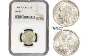 AB899, Poland, 2 Zlote 1932, Silver, NGC MS63