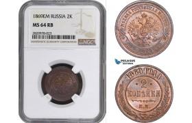 AB903, Russia, Alexander II, 2 Kopeks 1869 EM, Ekaterinburg, NGC MS64RB, Pop 1/0 as RB