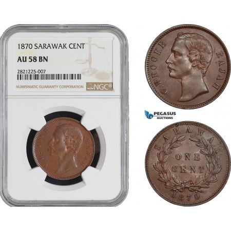AB913, Sarawak, C. Brooke Rajah, 1 Cent 1870, NGC AU58BN
