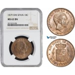AB915, Spain, Alfonso XII, 10 Centimos 1879 OM, Barcelona, NGC MS62BN