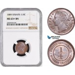 AB916, Straits Settlements, Victoria, 1/4 Cent 1889, NGC MS63+ BN