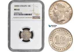 AB918, Straits Settlements, Victoria, 10 Cents 1890-H, Heaton, Silver, NGC MS62