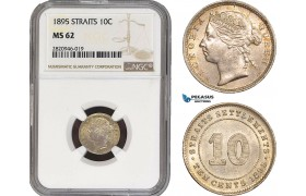 AB919, Straits Settlements, Victoria, 10 Cents 1895, Silver, NGC MS62