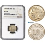 AB920, Straits Settlements, Victoria, 10 Cents 1899, Silver, NGC MS62