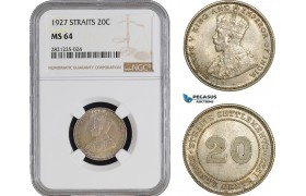 AB922, Straits Settlements, George V, 20 Cents 1927, Silver, NGC MS64
