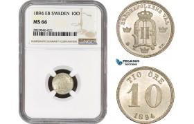 AB923, Sweden, Oscar II, 10 Öre 1894, Stockholm, Silver, NGC MS66