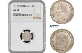 AB927-R, Venezuela, 1/4 Bolivar 1912, Paris, Silver, NGC AU58