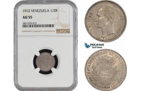 AB928-R, Venezuela, 1/2 Bolivar 1912, Paris, Silver, NGC AU55