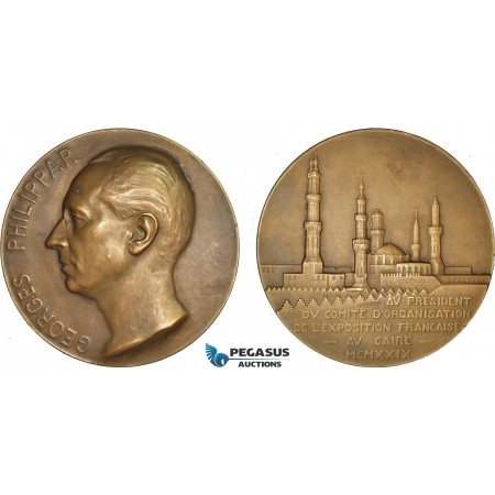 AB934, France & Egypt, Bronze Medal 1930 (Ø68mm, 147g) by Maillard, Cairo Exhibition, Georges Philippar
