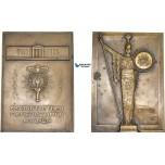 AB939, Greece, Bronze Plaque Medal 1937 (99x71mm, 326g) by Guzes, Athens Academy Centenary, Athena, Owl, RR!!