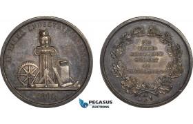 AB947, Sweden, Silver Medal 1860 (Ø31mm, 12.95g) Owl, Malmö Industry